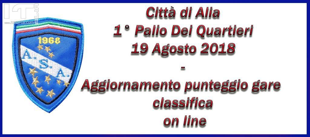 1°PALIO DEI QUARTIERI - ALIA 19 AGOSTO 2018 - AGGIORNAMENTI PUNTEGGIO GARE E CLASSIFICA - ON LINE