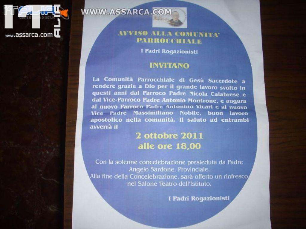 LA COMUNITA` PARROCCHIALE DI GESU` SACERDOTE PALERMO, SALUTA IL NUOVO PARROCO PADRE ANTONINO VICARI