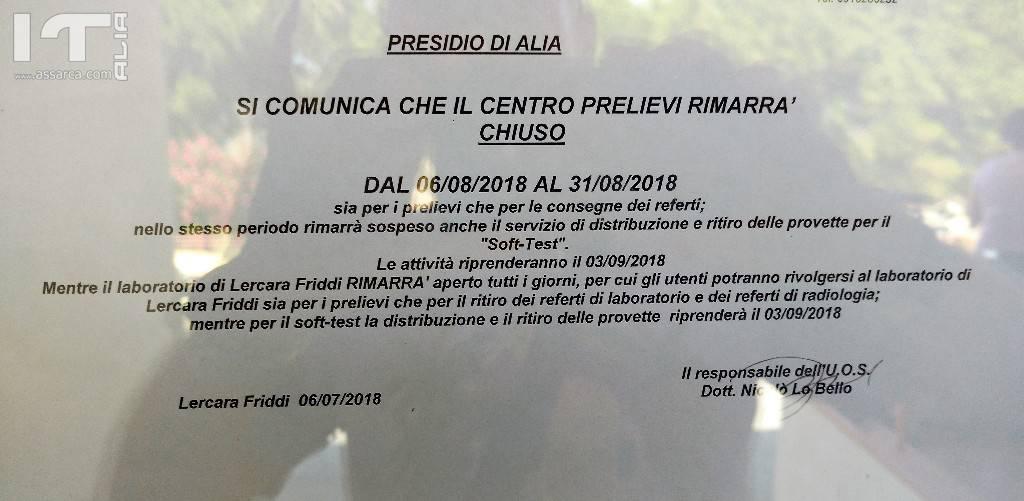 Poliambulatorio chiuso ad Alia per tutto Agosto