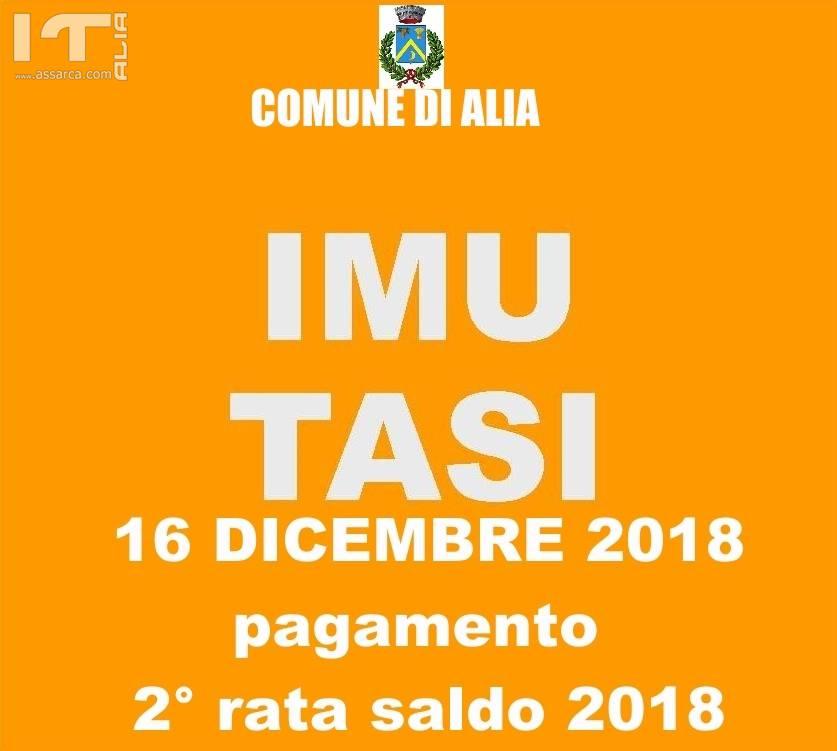 16 DICEMBRE 2018 SCADENZA VERSAMENTO 2° RATA (SALDO) IMU E TASI ANNO 2018.