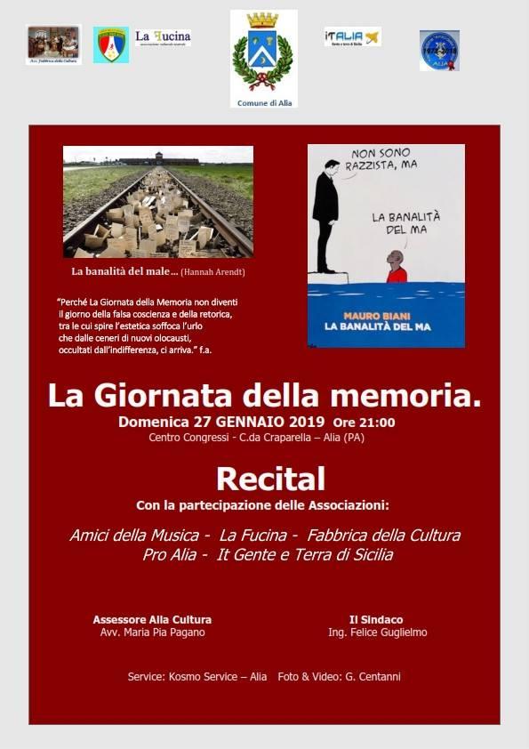 LA GIORNATA DELLA MEMORIA 27 GENNAIO 2019 ORE 21:00