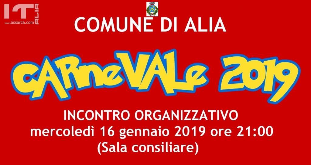 INCONTRO ORGANIZZATIVO CARNEVALE ALIESE 2019 MERCOLEDÌ 16 GENNAIO ORE 21:00
