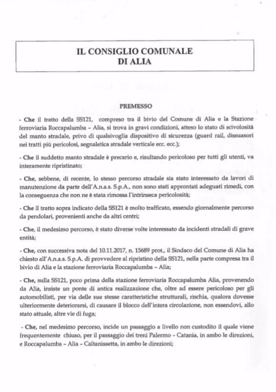 ALIA (PA), CONSIGLIO COMUNALE, SOS VIABILITA` E SICUREZZA DEGLI AUTOMOBILISTI