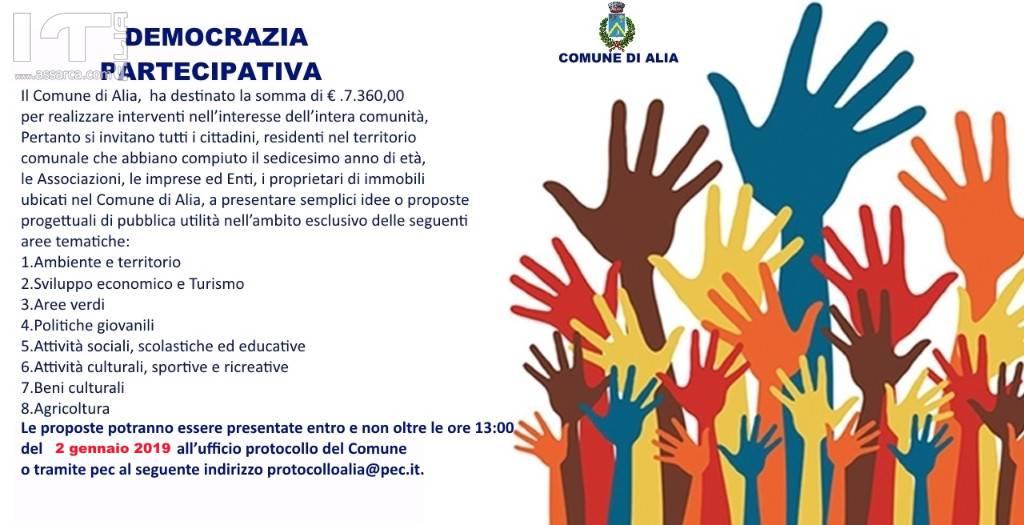 RIAPERTURA TERMINI. DEMOCRAZIA PARTECIPATIVA. SCADENZA 2 GENNAIO 2019 (ART. 6 COMMA 1 DELLA L.R. N. 5/2014 E SS. MM. II.)
