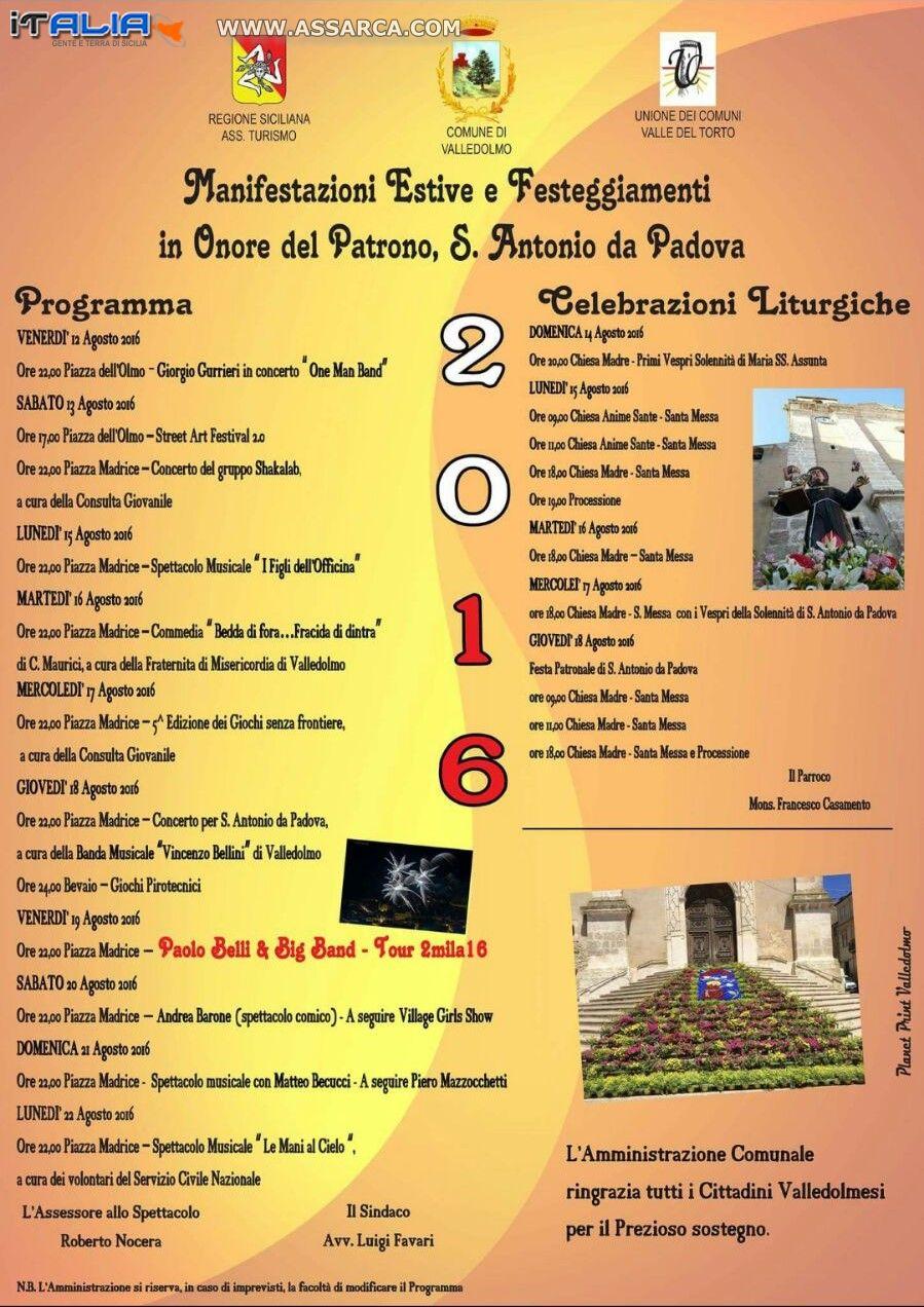FESTEGGIAMENTI IN ONORE DEL PATRONO S. ANTONIO DA PADOVA