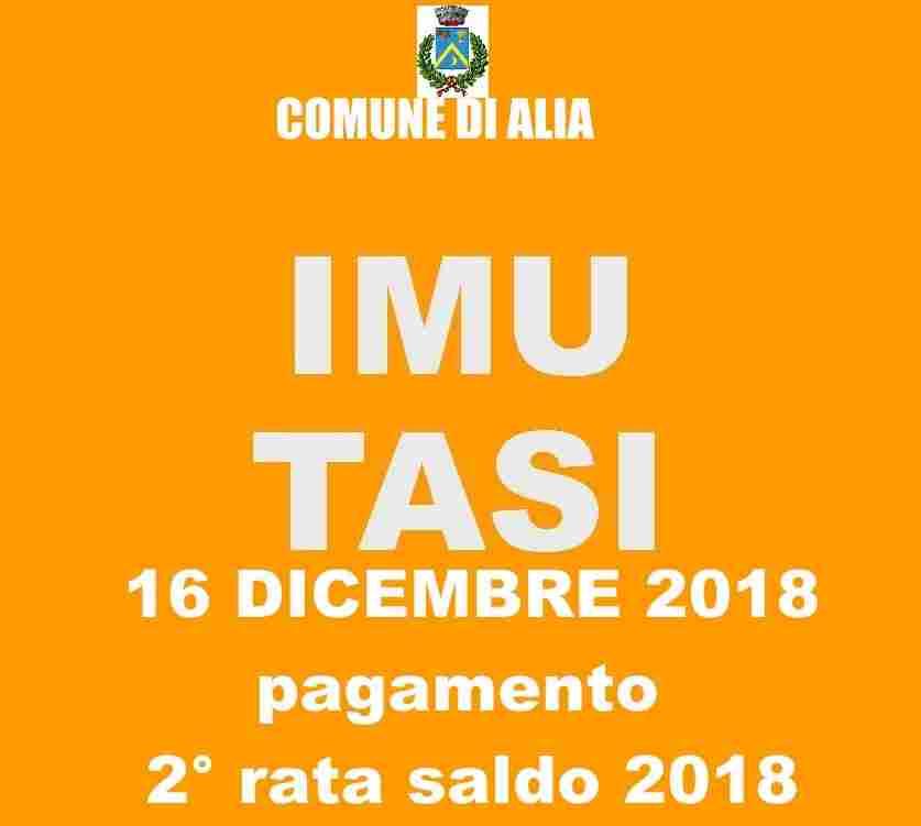 16 DICEMBRE 2018 SCADENZA VERSAMENTO 2� RATA (SALDO) IMU e TASI ANNO 2018.