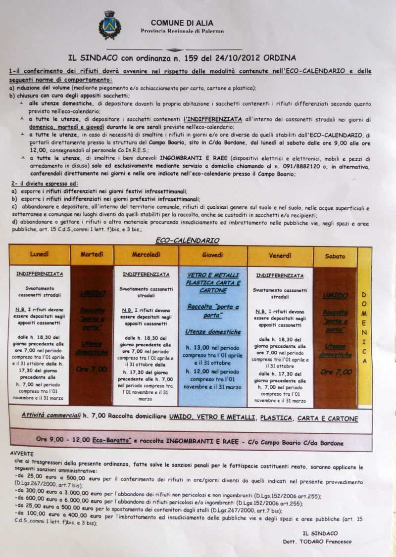 Alia : Nuova ordinanza sindacale per la raccolta dei rifiuti.