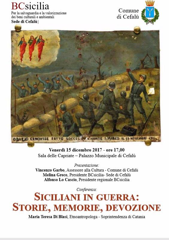�Siciliani in guerra: storie memorie, devozione�, conferenza promossa da BCsicilia e Comune di Cefalù.