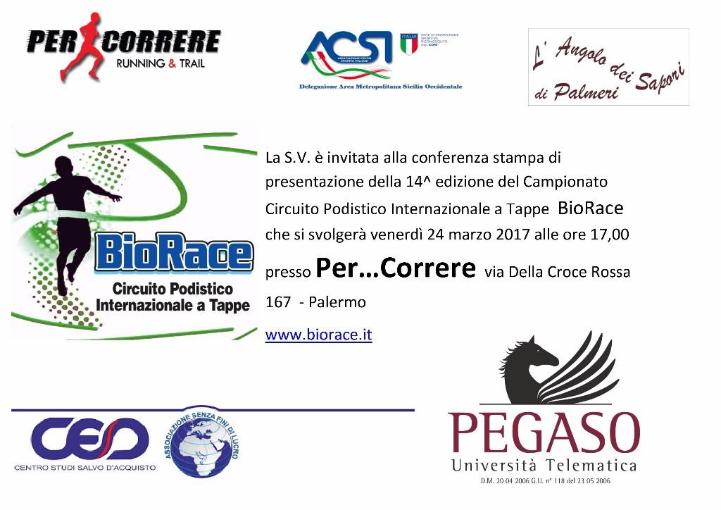 Il 24 Marzo la presentazione ufficiale del Campionato  BioRace 2017 Trofeo Pegaso/Per...Correre