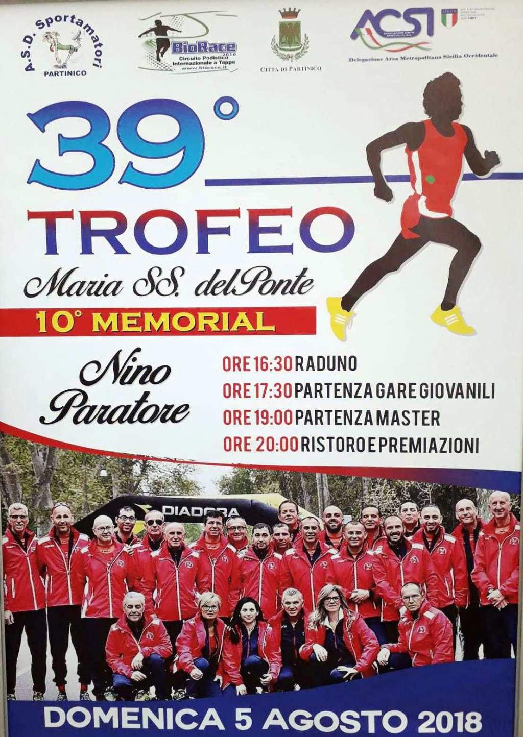 Podismo:  A Partinico si corre il BioRace con la 39 edizione del Trofeo Podistico M.SS. del Ponte