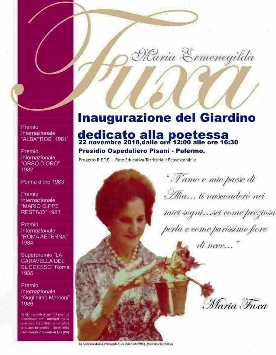 Palermo, inaugurazione giardino dedicato alla poetessa Maria Fuxa