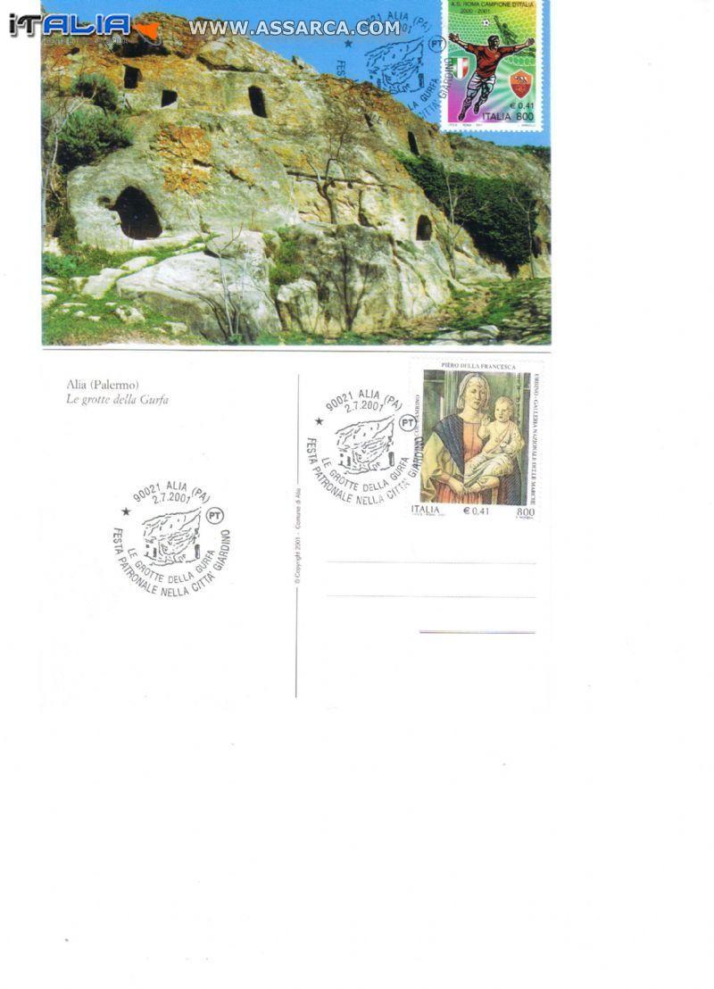 le grotte della gurfa annullo filatelico emesso in data 2/07/2001
