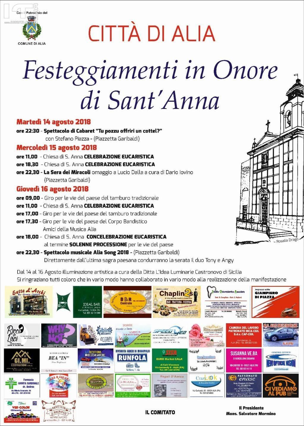 Programma Festeggiamenti in onore di Sant Anna.