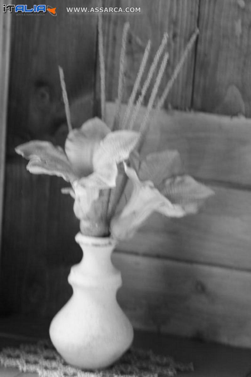 Vaso con fiori secchi