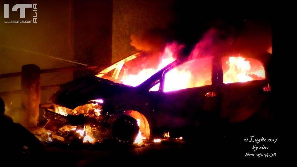 Incendio ai cassonetti dei rifiuti in Via Tenente Pietro Miceli