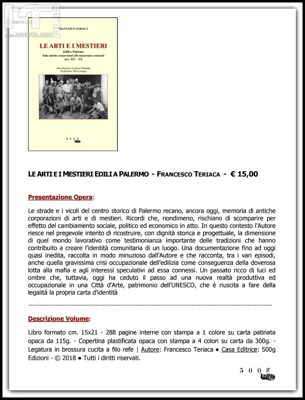 Le arti e i mestieri - Edili a Palermo - Dalle antiche corporazioni alle maestranze comunali - Secc. XIV -XX