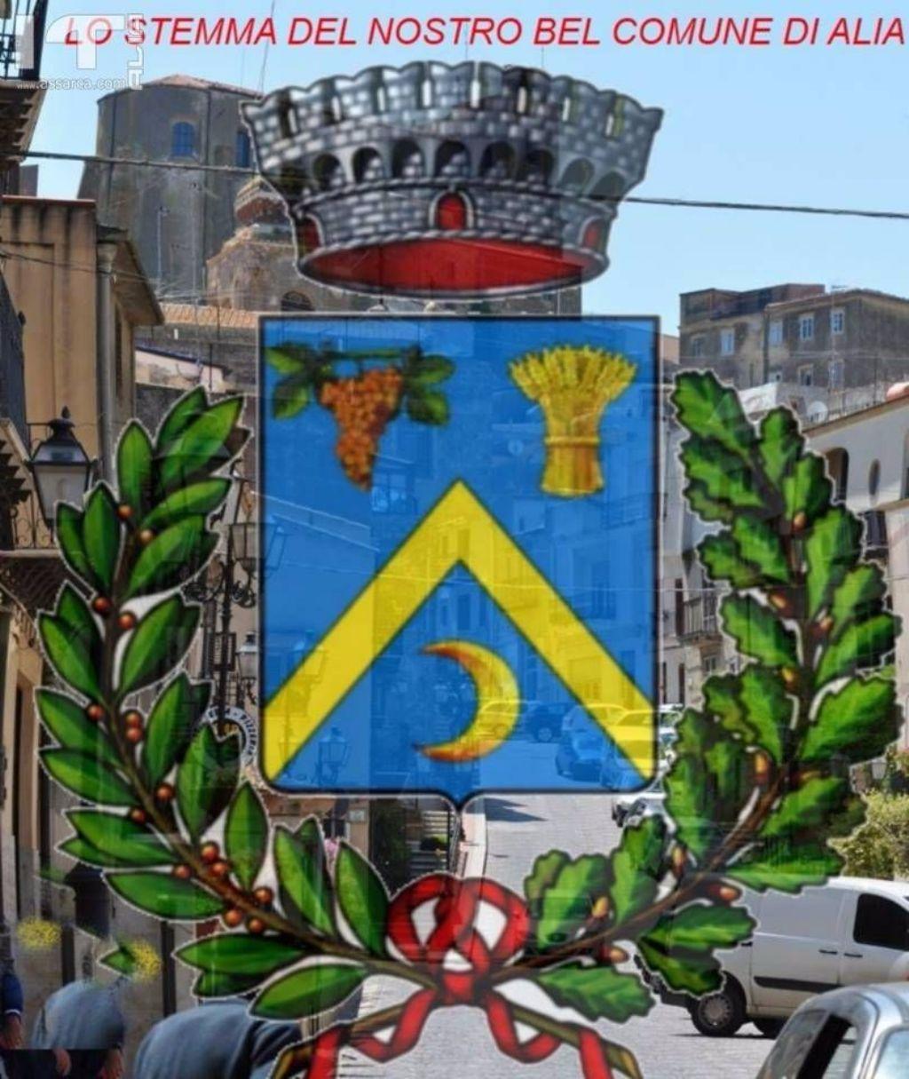 LO stemma del Comune di Alia con panorama di Alia