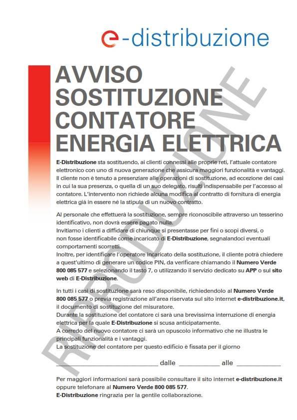 AVVISO SOSTITUZIONE CONTATORI ENERGIA ELETTRICA.