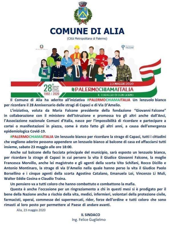 IL COMUNE DI ALIA ADERISCE A #PALERMOCHIAMAITALIA 23 MAGGIO 2020.