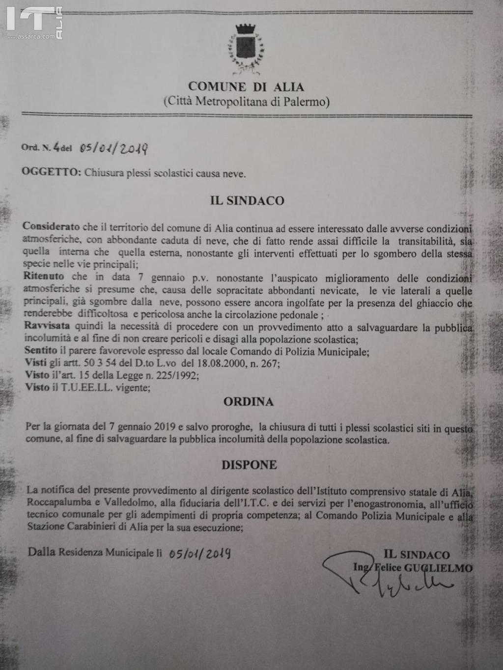 CHIUSURA SCUOLE PER NEVE E GHIACCIO LUNEDI' 7 GENNAIO 2019.