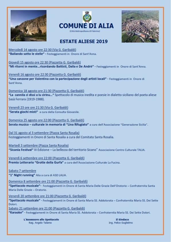 ESTATE ALIESE 2019 PROGRAMMA MANIFESTAZIONI.