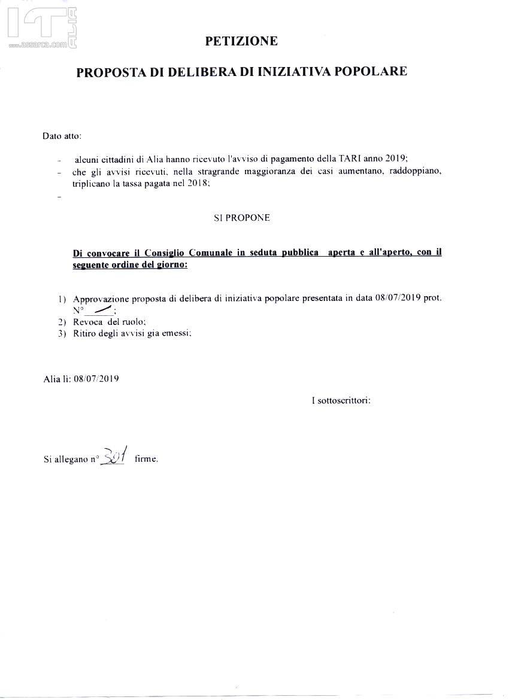 Presentate al COMUNE DI ALIA due proposte di delibera di iniziativa popolare