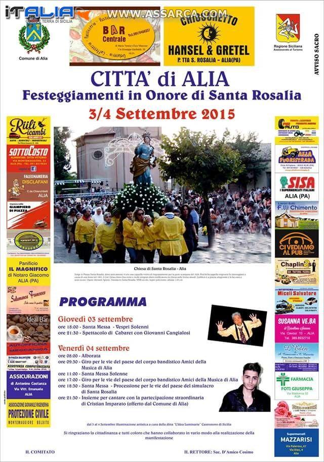 CITTA DI ALIA (PA) - FESTEGGIAMENTI IN ONORE DI SANTA ROSALIA. 3 E 4 SETTEMBRE 2015