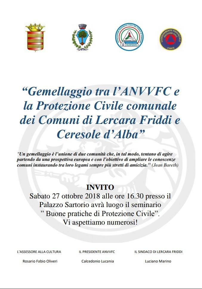 Gemellaggio tra l`ANVVFC e la protezione civile comunale dei comuni di Lercara Friddi e Ceresole d`Alba