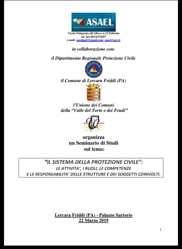 Programma seminario su protezione civile