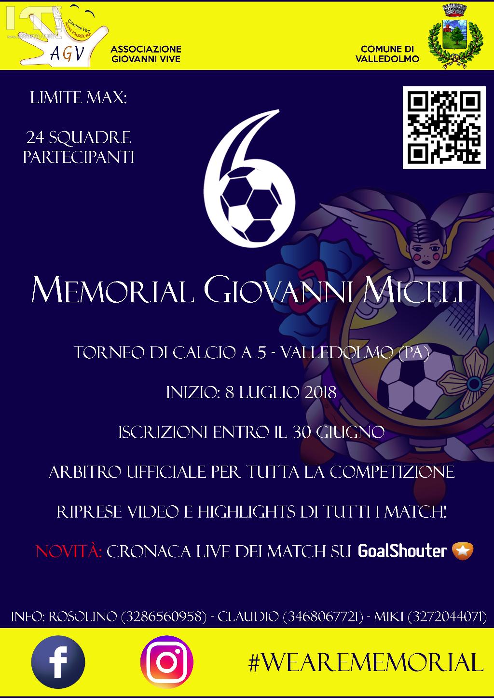 6° Memorial Giovanni Miceli: a Valledolmo tutto pronto per la prossima edizione