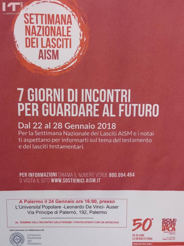 XIV Edizione Settimana Nazionale dei Lasciti. AISM – Associazione Italiana Sclerosi Multipla
