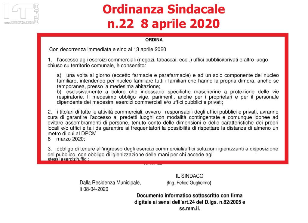 ORDINANZA SINDACALE n.22 - 8 APRILE 2020 ACCESSO ESERCIZI COMMERCIALI.