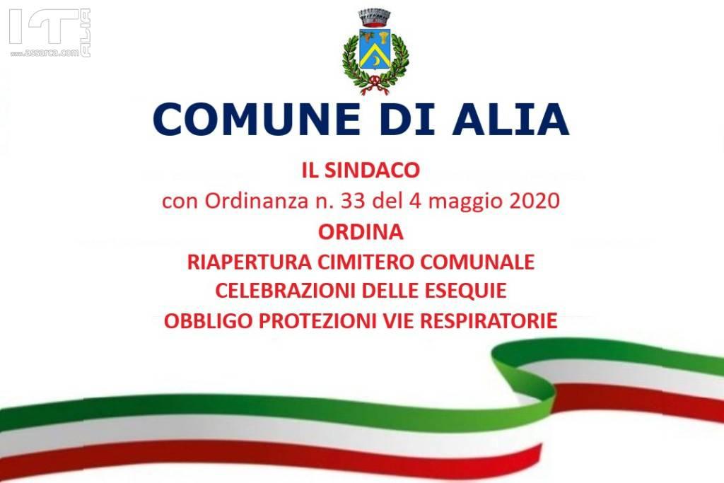 RIAPERTURA CIMITERO COMUNALE CELEBRAZIONI DELLE ESEQUIE OBBL...