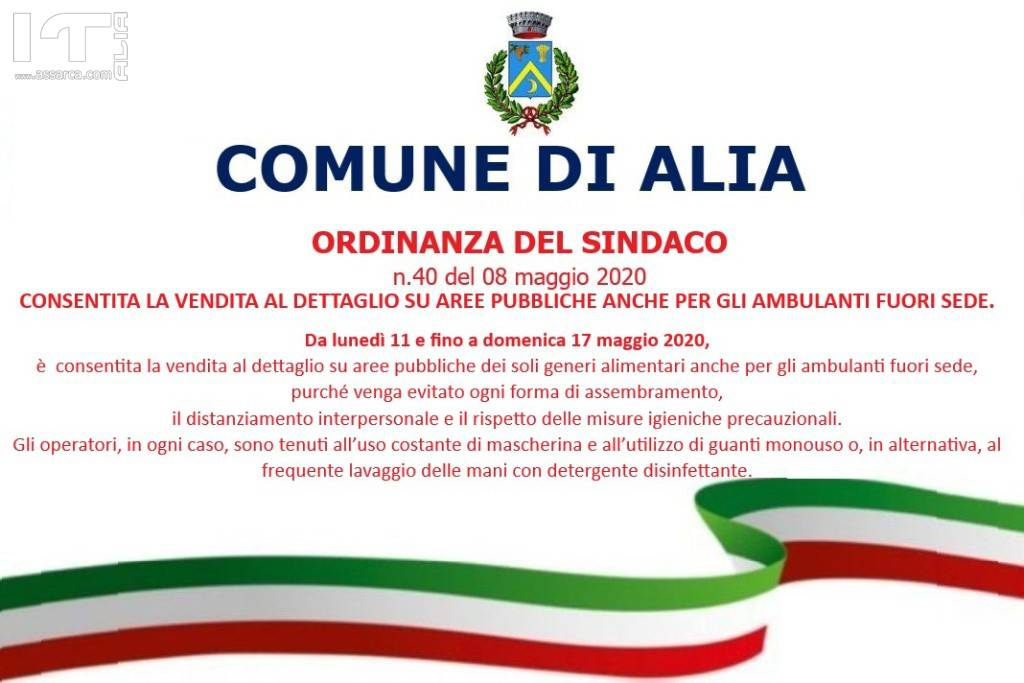 DA LUNEDI` 11 MAGGIO CONSENTITA LA VENDITA AGLI AMBULANTI FUORI SEDE.