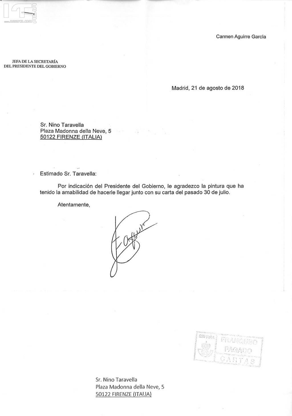 Lettera del Presidente di Spagna.