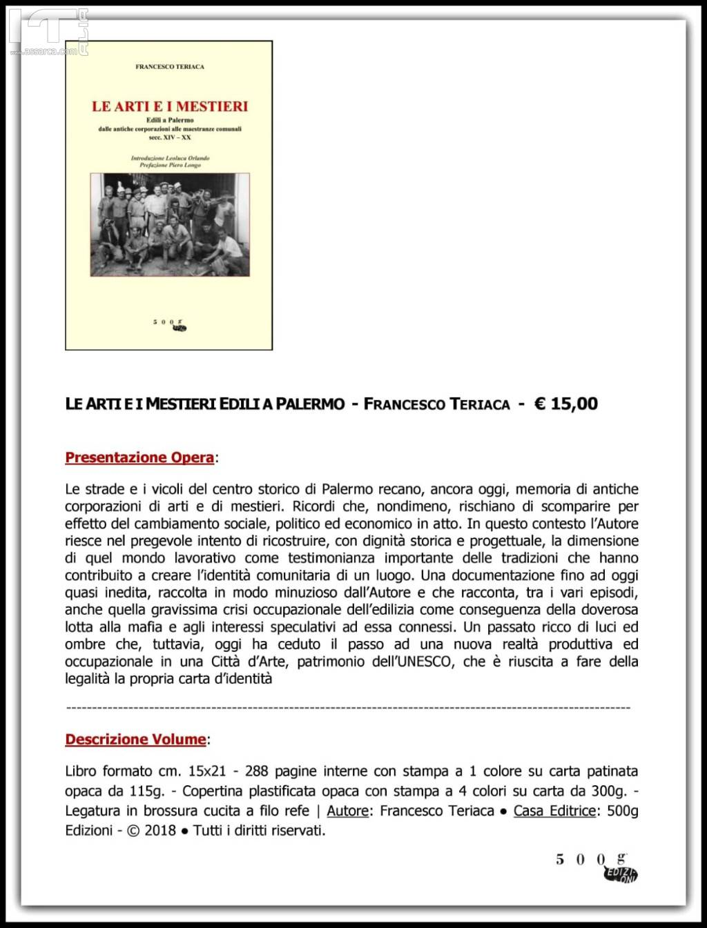 Saggio storico - Le arti e i mestieri - Edili a Palermo
