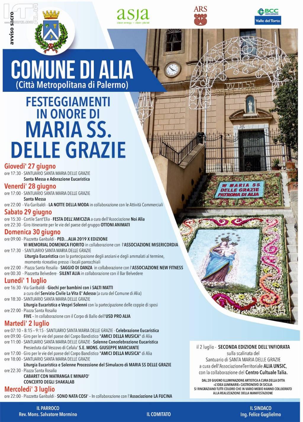 """FESTEGGIAMENTI IN ONORE DI """"MARIA SS. DELLE GRAZIE"""" PATRONA DI ALIA. 27 GIUGNO - 3 LUGLIO 2019."""