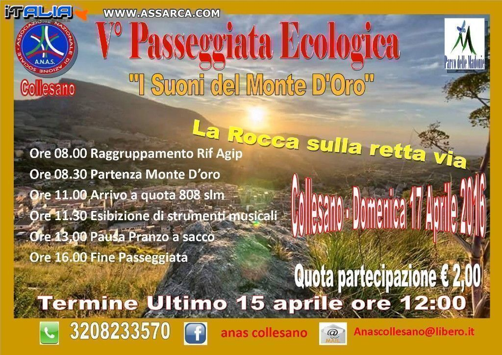 """V° Passeggiata Ecologica """"Monte D`oro"""" domenica 17 aprile 2016"""