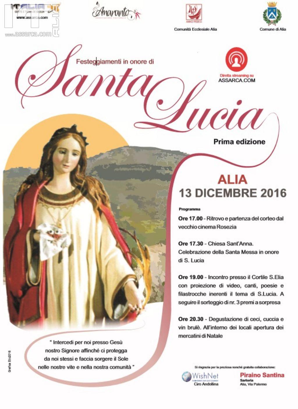 Alia, al via i festeggiamenti in onore di Santa Lucia