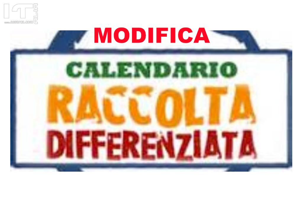 MODIFICA CALENDARIO RACCOLTA RIFIUTI DAL 24/12/2018 AL 5/01/2019