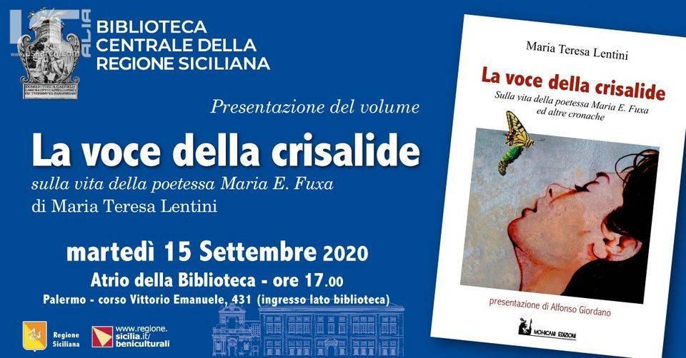 """Palermo, presentazione del libro """"La voce della crisalide"""" di Maria Teresa Lentini"""