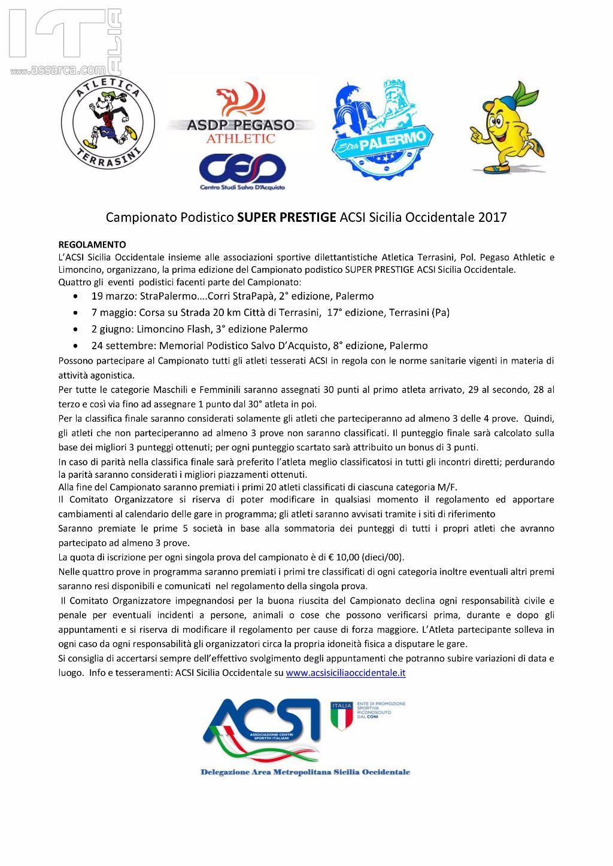 Nasce il Campionato Podistico SUPER PRESTIGE ACSI Sicilia Occidentale, con  le gare più avvincenti del panorama regionale siciliano
