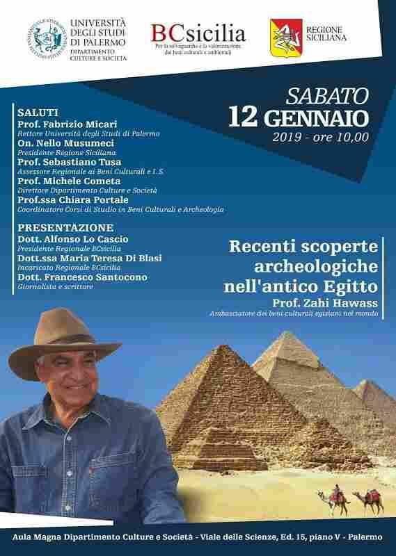 Palermo, conferenza: Recenti scoperte archeologiche nell�antico Egitto