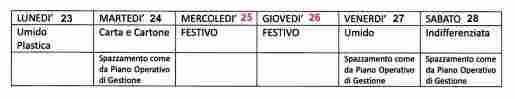 VARIAZIONE CALENDARIO RACCOLTA RIFIUTI DAL 23 AL 29 DICEMBRE 2019