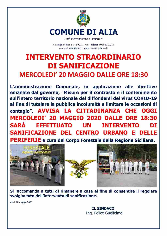 INTERVENTO STRAORDINARIO  DI SANIFICAZIONE MERCOLEDI� 20 MAGGIO DALLE ORE 18:30