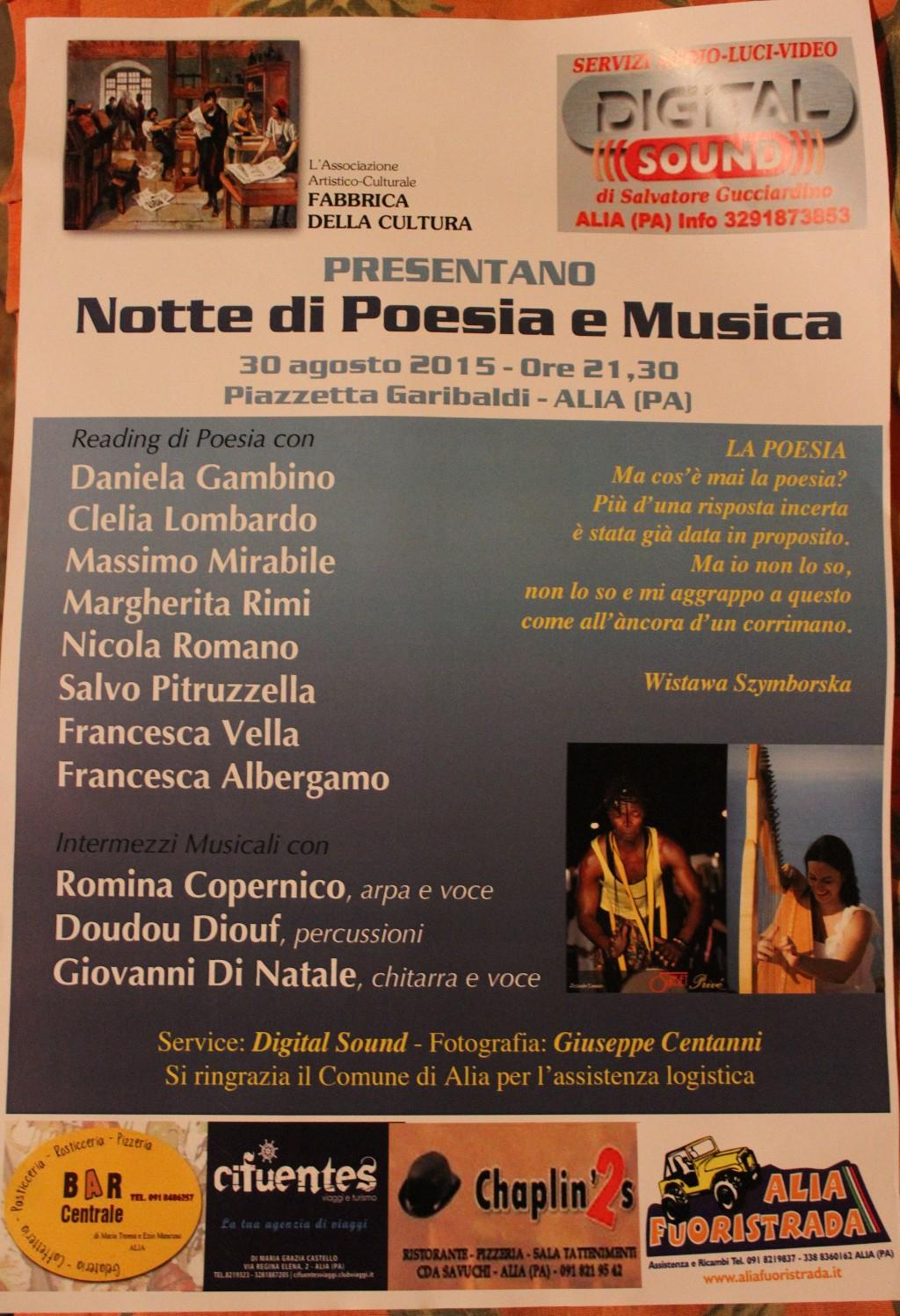 Notte di Poesia e Musica 30 Agosto 2015,ore 21.00 Piazzetta Garibaldi- Alia
