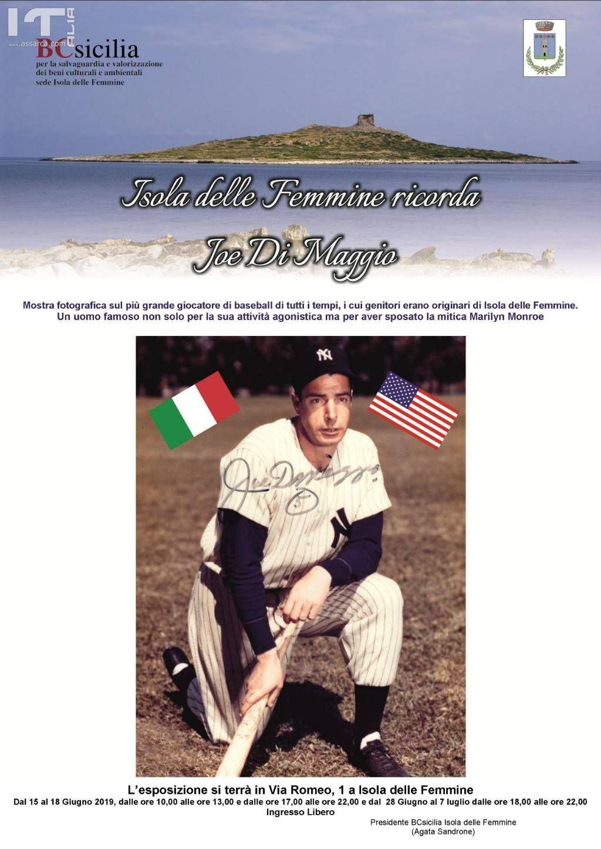 Isola delle Femmine, BCsicilia ricorda con una mostra il cittadino onorario Joe Di Maggio, il più grande giocatore del Baseball di tutti i tempi