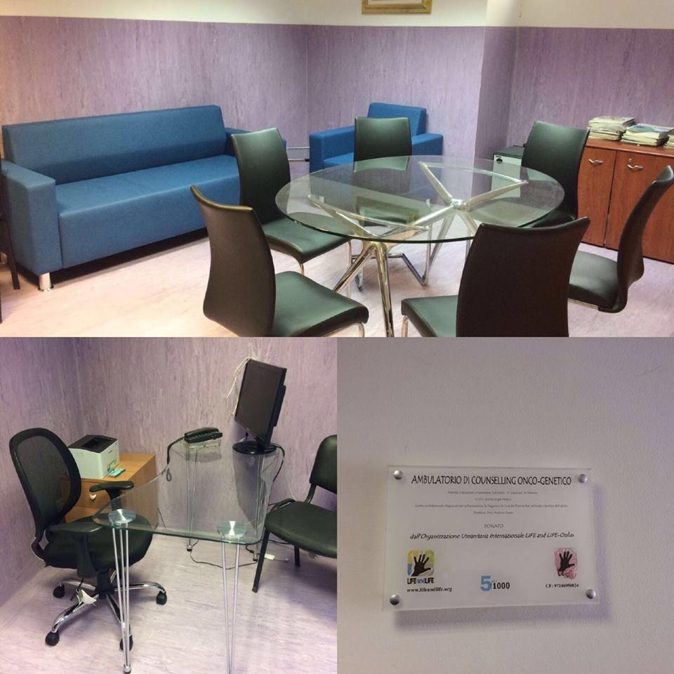 Si inaugura l�ambulatorio di Counselling Onco-Genetico del �Paolo Giaccone� di Palermo. Una struttura che guarda al benessere del paziente anche grazie agli arredi donati dalla �LIFE and LIFE�