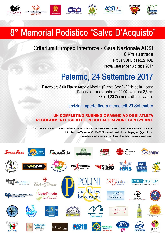 Podismo: L�Università Telematica Pegaso Premier Support del Memorial Podistico Salvo D�Acquisto.
