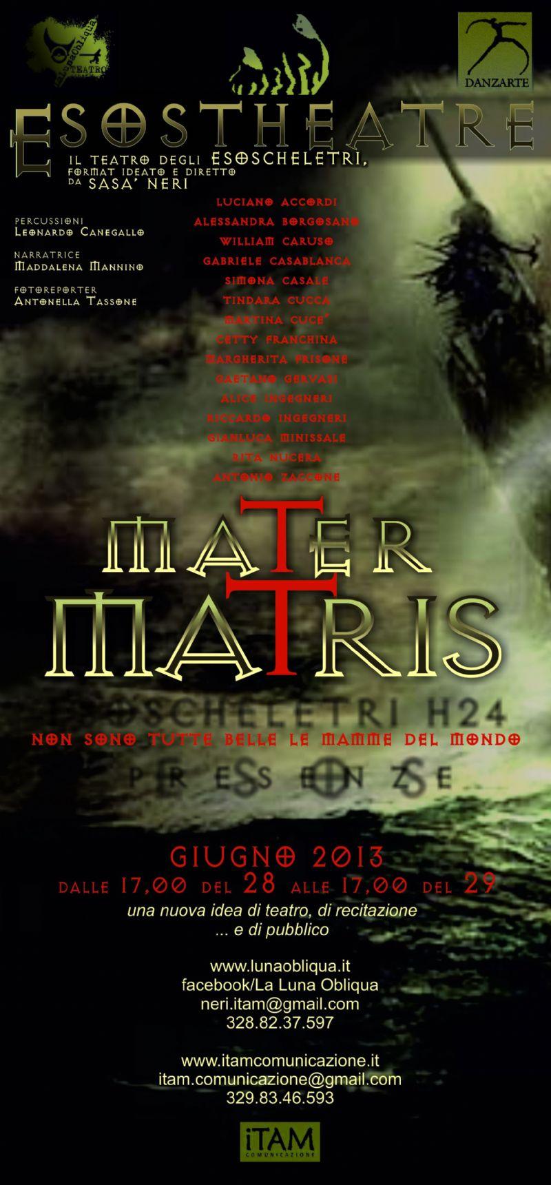 """Teatro degli Esoscheletri, 24 ore in scena per l`evento finale """"Mater Matris"""""""
